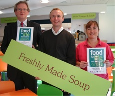Kevin Walsh, Deputy Head St Wilfrid's School; Andy Simpson, owner of FASTSIGNS Leeds; Babs Askham, Catering Manager, St Wilfrid's