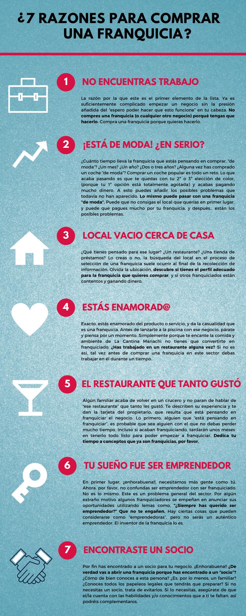 7 razones para invertir en franquicias - Infográfico