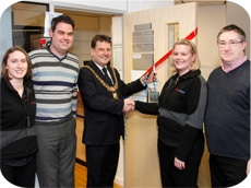 The Mayor of Derby, Sean Marshall, declares FASTSIGNS Derby officially 'Open for Business' on Thursday 28 January at 4.30pm.  Left to right: Sarah & Paul Godney, the Mayor, Gill and Steve Brown.