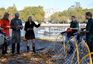 Members of Ed's Garden Maintenance with This Morning presenters Holly Whilloughby and Philip Schofield