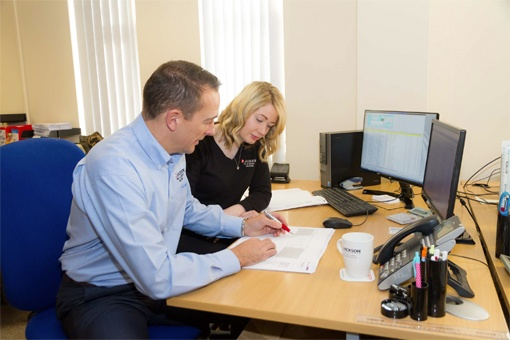 Bolton branch director Gary Johnson with Jackson operations manager Sophie Williams
